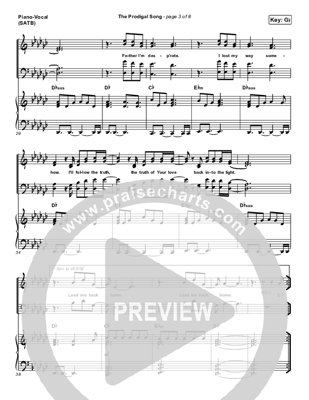 The Prodigal Song Piano/Vocal (SATB) (Cory Asbury)