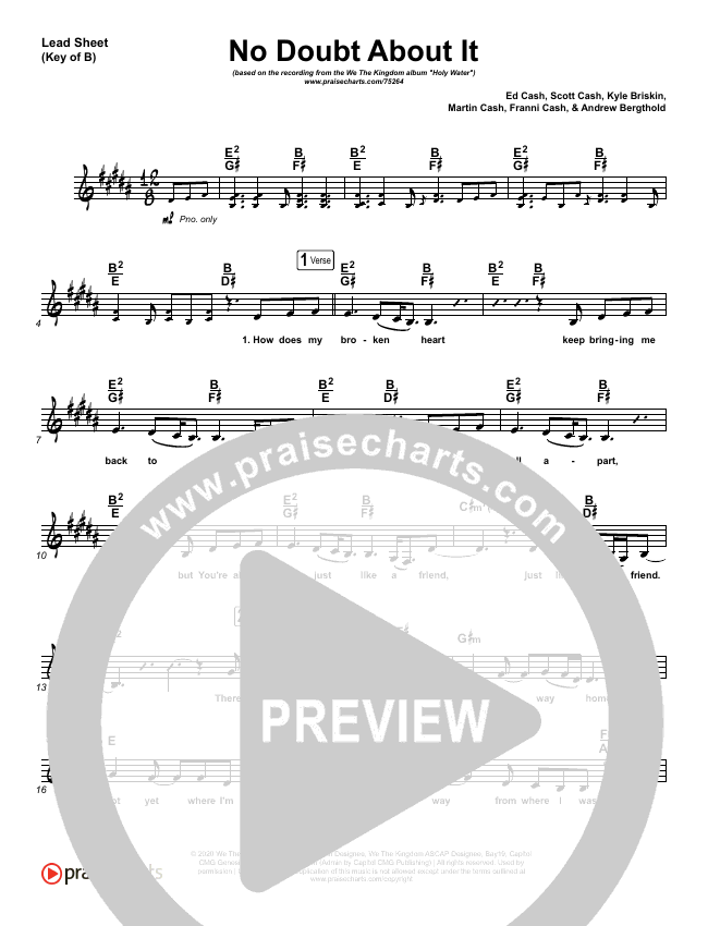 No Doubt About It Lead Sheet (Melody) (We The Kingdom)