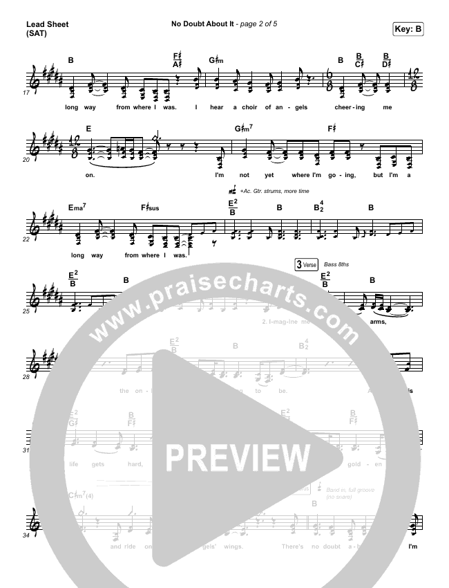 No Doubt About It Lead Sheet (SAT) (We The Kingdom)