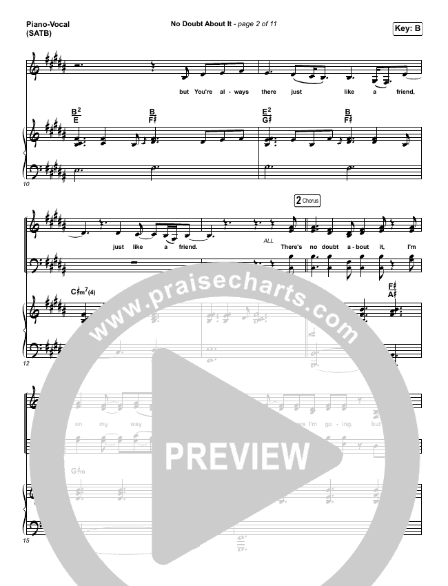 No Doubt About It Piano/Vocal (SATB) (We The Kingdom)