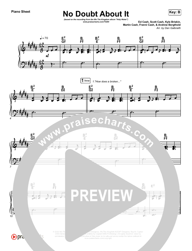 No Doubt About It Piano Sheet (We The Kingdom)