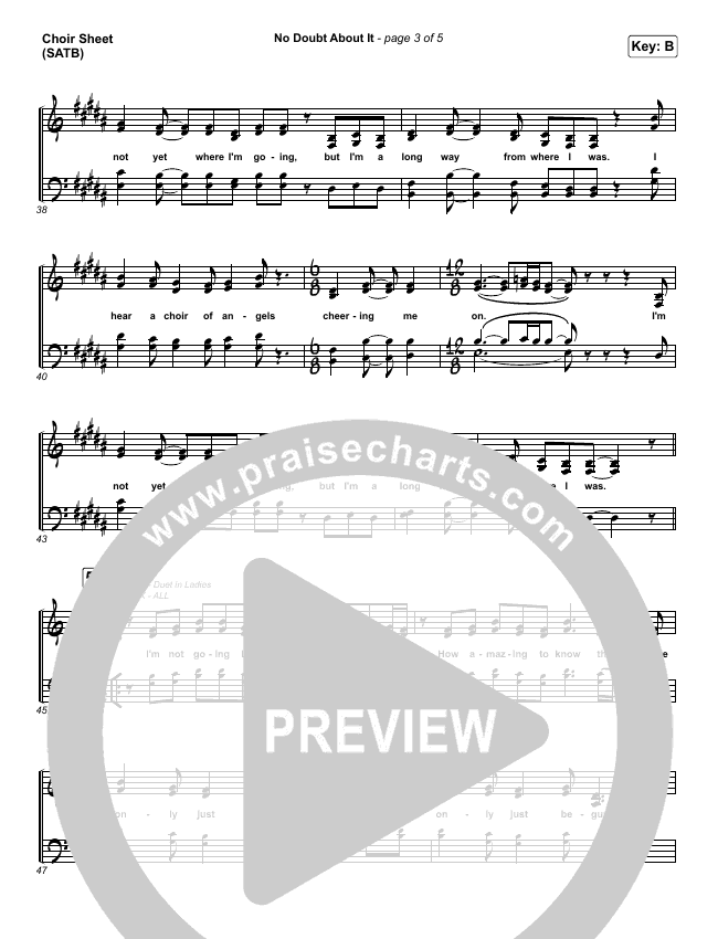 No Doubt About It Choir Sheet (SATB) (We The Kingdom)