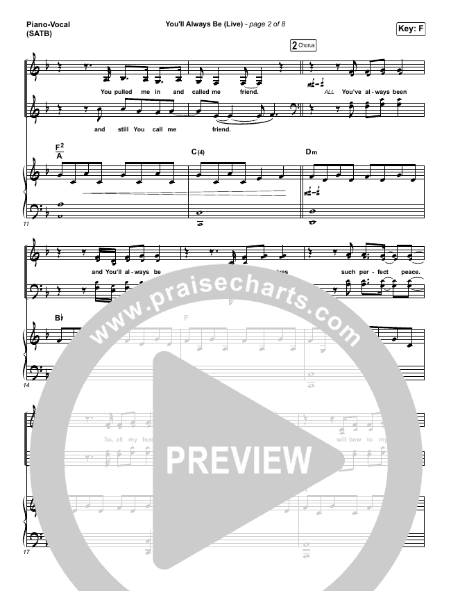 You'll Always Be Piano/Vocal (SATB) (Kim Walker-Smith)