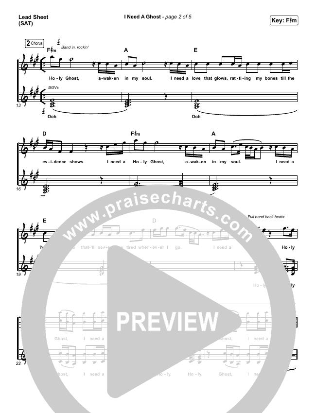 I Need A Ghost Lead & Piano/Vocal (Brandon Lake)