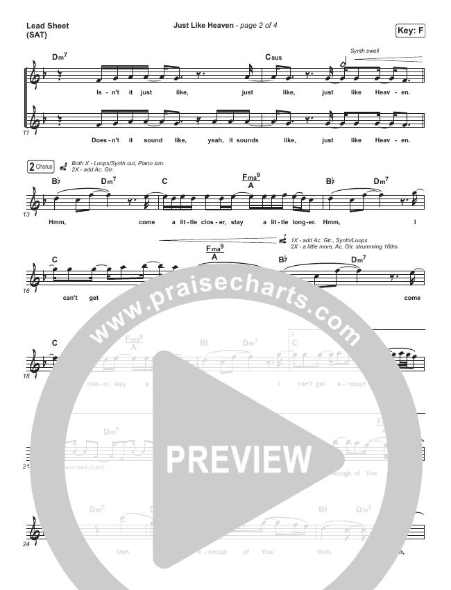 Just Like Heaven Lead Sheet (SAT) (Brandon Lake)