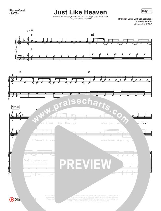 Just Like Heaven Piano/Vocal (SATB) (Brandon Lake)