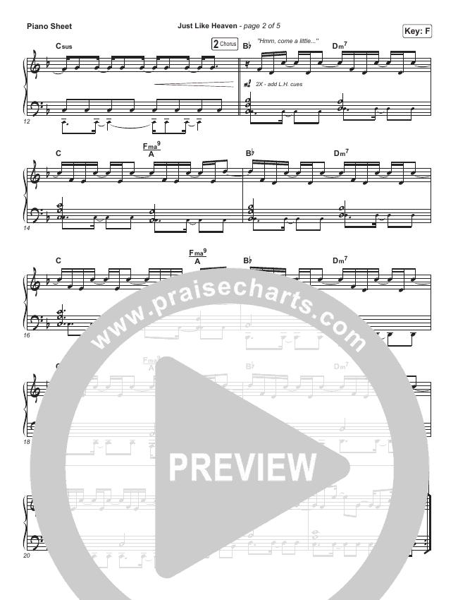 Just Like Heaven Piano Sheet (Brandon Lake)