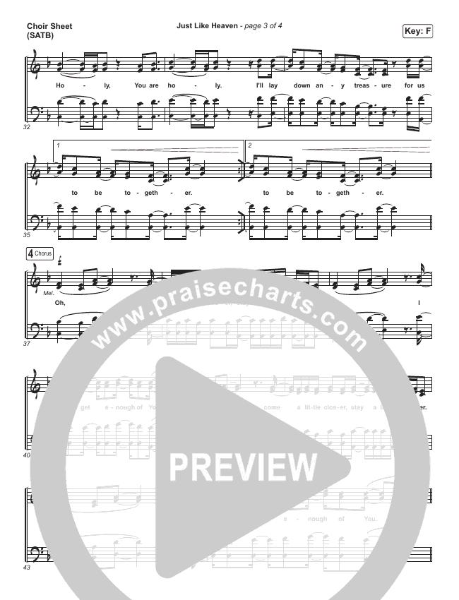 Just Like Heaven Choir Sheet (SATB) (Brandon Lake)