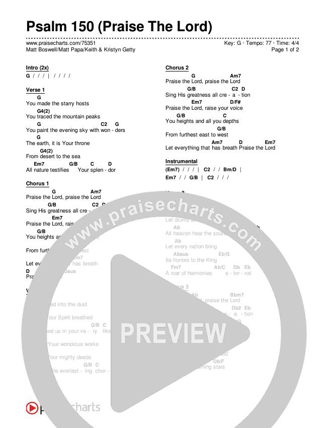 Psalm 150 (Praise The Lord) Chords & Lyrics (Matt Boswell / Matt Papa / Keith & Kristyn Getty)
