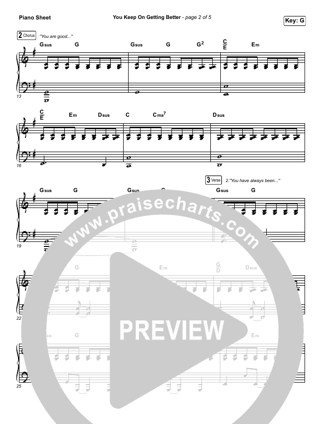 You Keep On Getting Better Piano Sheet (The Worship Initiative / Shane & Shane / Majesty Rose)