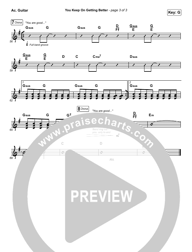 You Keep On Getting Better Rhythm Chart (The Worship Initiative / Shane & Shane / Majesty Rose)
