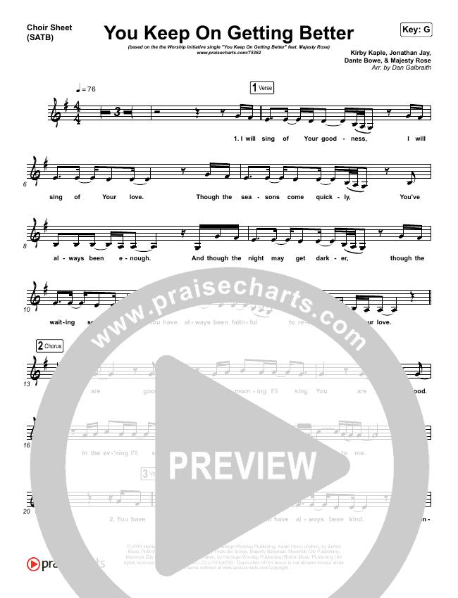 You Keep On Getting Better Choir Sheet (SATB) (The Worship Initiative / Shane & Shane / Majesty Rose)