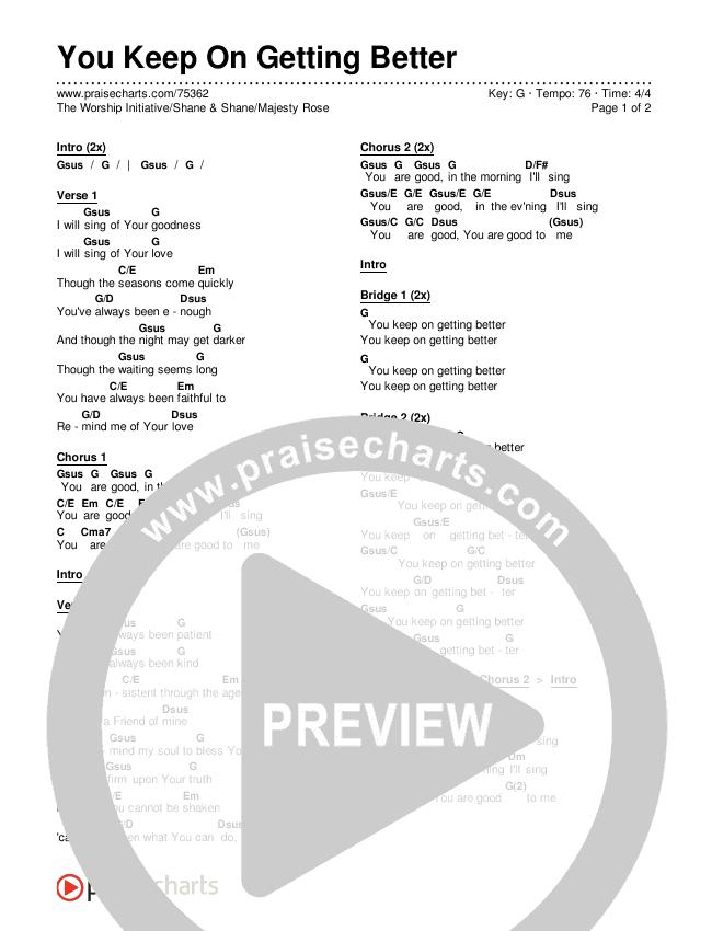 You Keep On Getting Better Chords & Lyrics (The Worship Initiative / Shane & Shane / Majesty Rose)