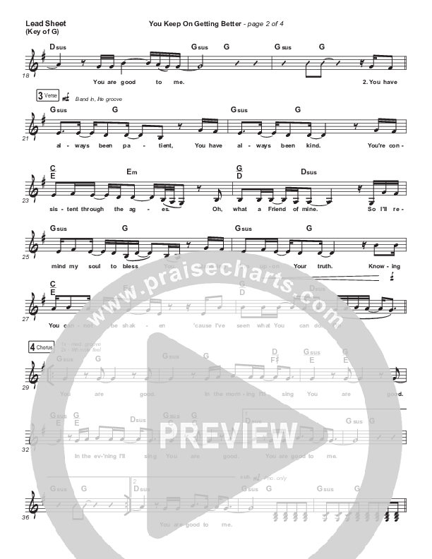 You Keep On Getting Better Lead Sheet (Melody) (The Worship Initiative / Shane & Shane / Majesty Rose)