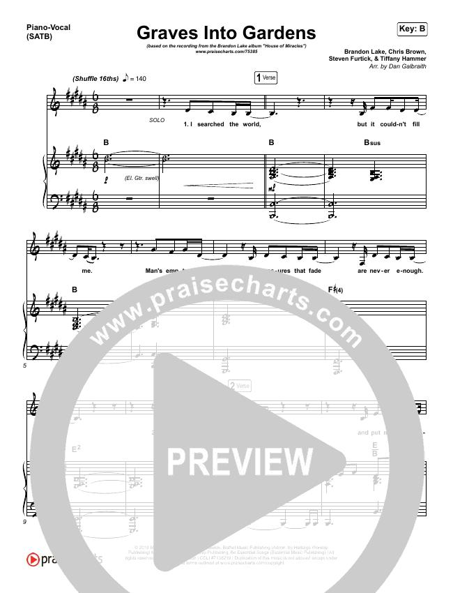 Graves Into Gardens Piano/Vocal (SATB) (Brandon Lake)