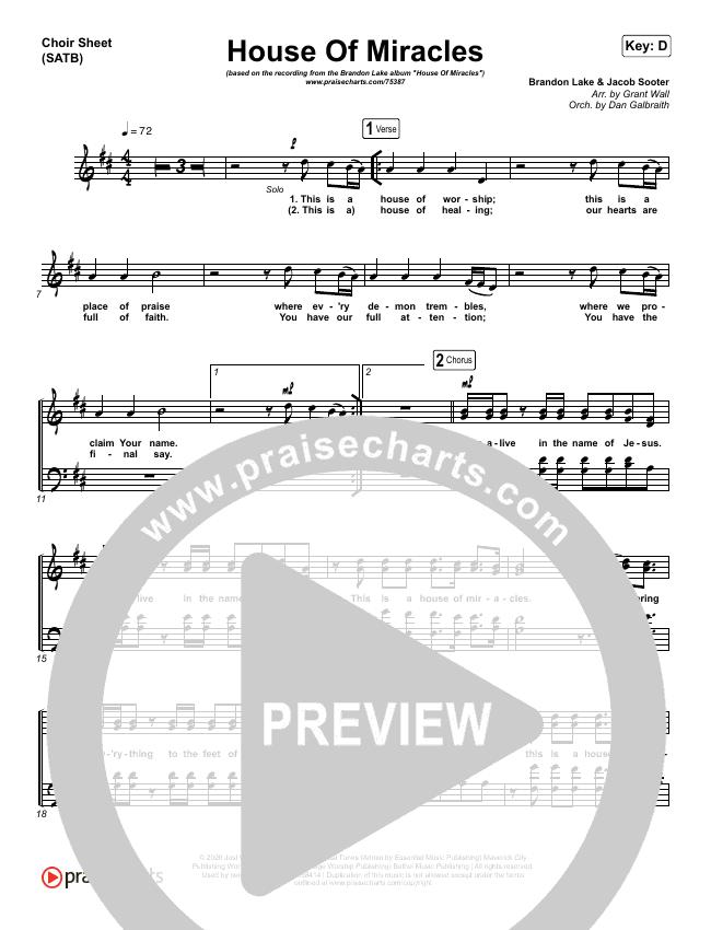 House Of Miracles Choir Sheet (SATB) (Brandon Lake)
