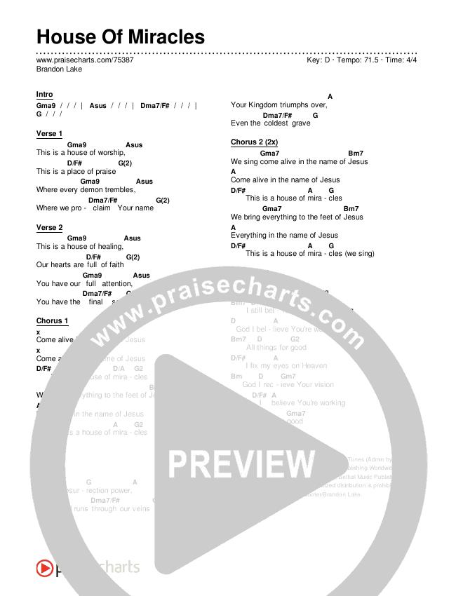 House Of Miracles Chords & Lyrics (Brandon Lake)