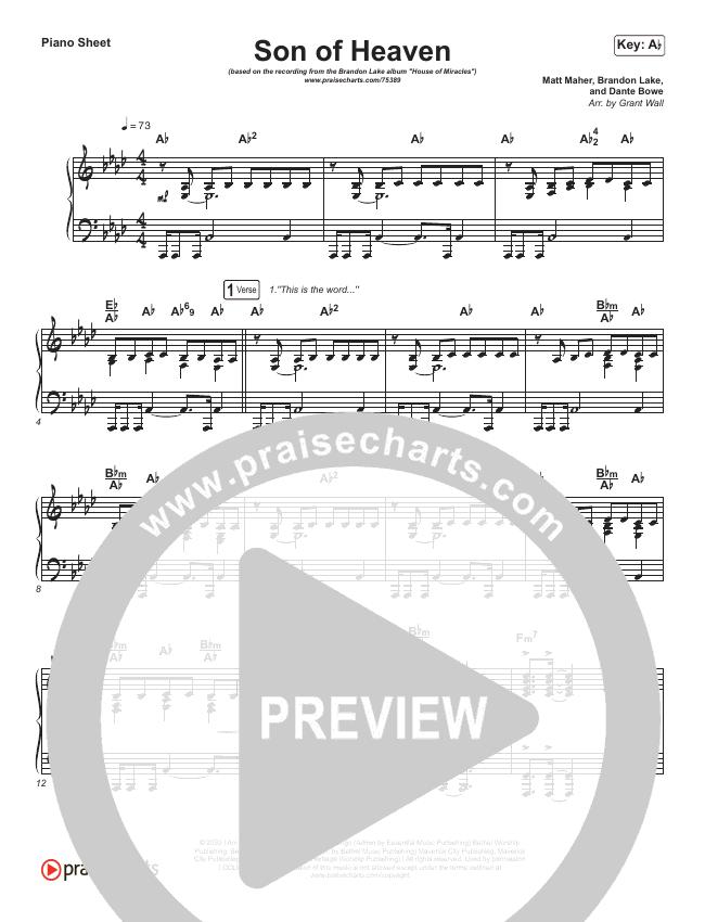Son Of Heaven Piano Sheet (Brandon Lake)