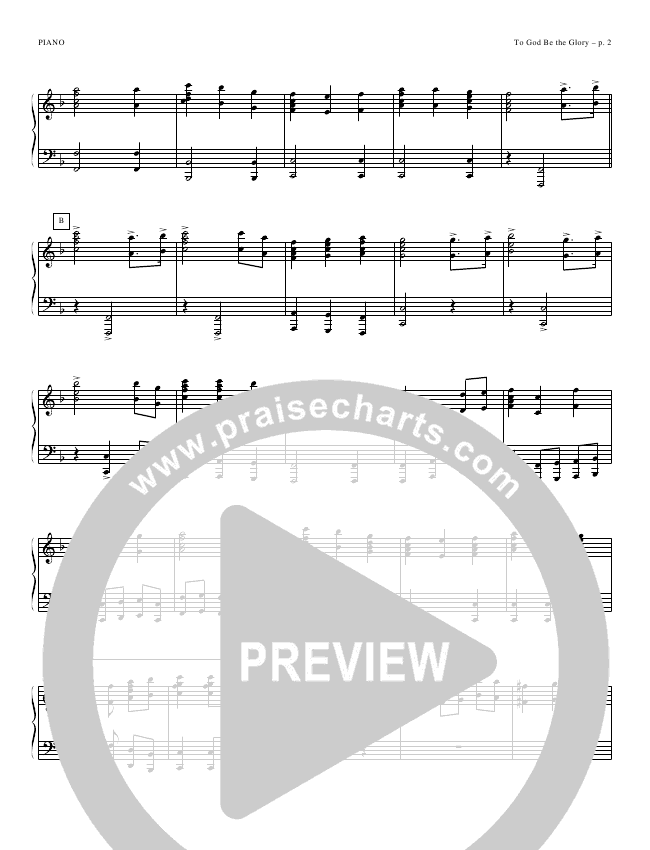 To God Be the Glory Piano Sheet (Todd Billingsley)