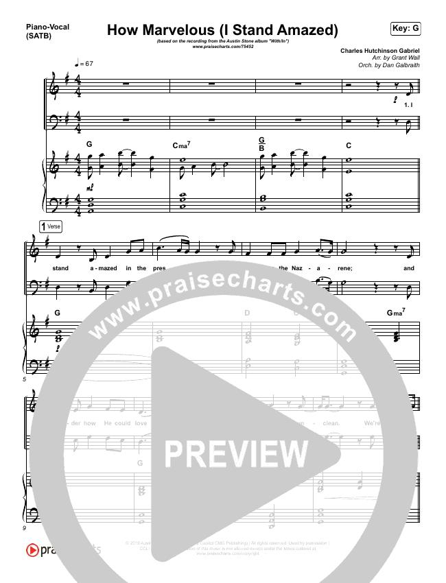 How Marvelous (I Stand Amazed) Piano/Vocal (SATB) (Austin Stone Worship)