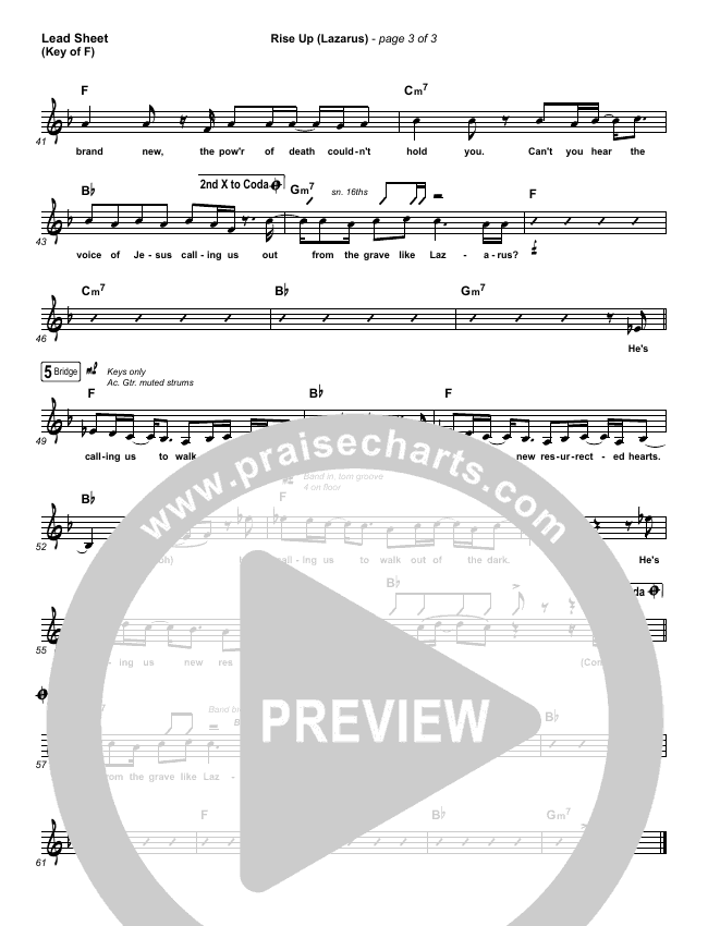 Rise Up (Lazarus) Lead Sheet (Melody) (Cain)