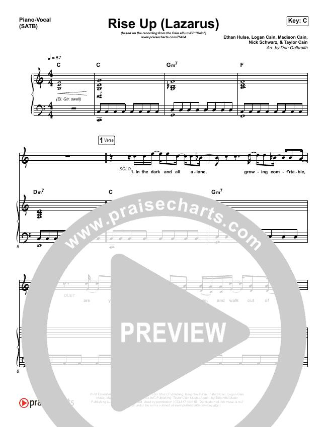 Rise Up (Lazarus) Piano/Vocal (SATB) (Cain)