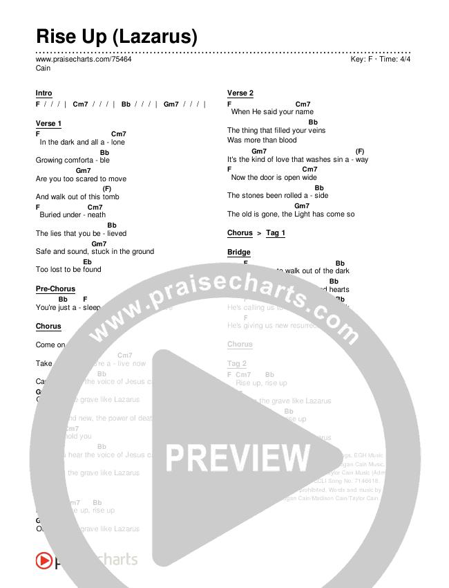 Rise Up (Lazarus) Chords & Lyrics (Cain)