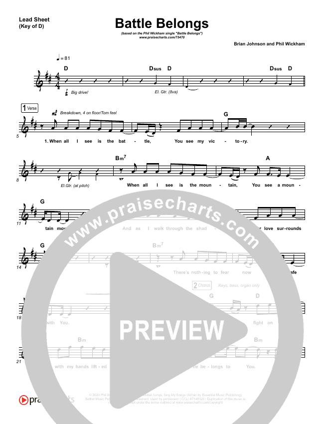 Battle Belongs Lead Sheet (Melody) (Phil Wickham)