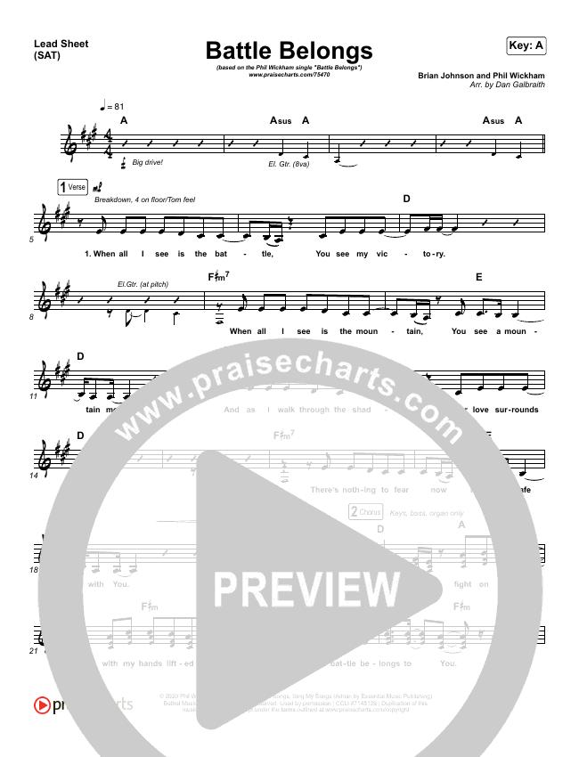 Battle Belongs Lead Sheet (SAT) (Phil Wickham)