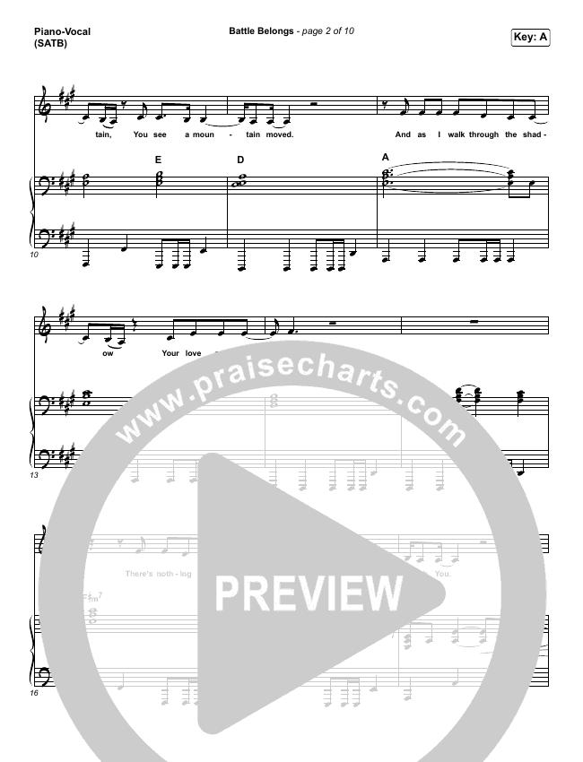 Battle Belongs Piano/Vocal (SATB) (Phil Wickham)