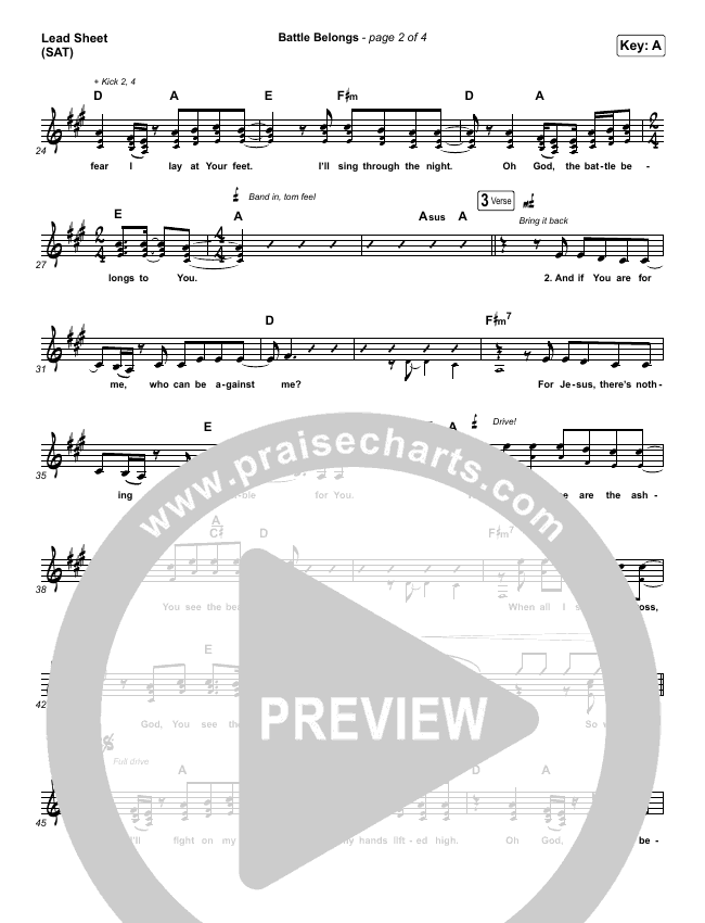 Battle Belongs Lead & Piano/Vocal (Phil Wickham)