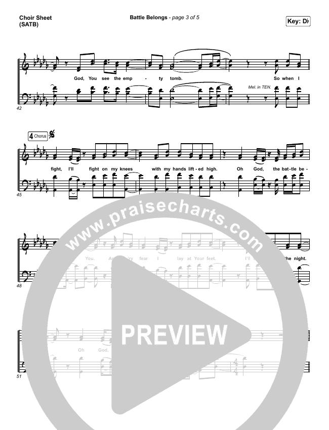Battle Belongs Choir Sheet (SATB) (Phil Wickham)