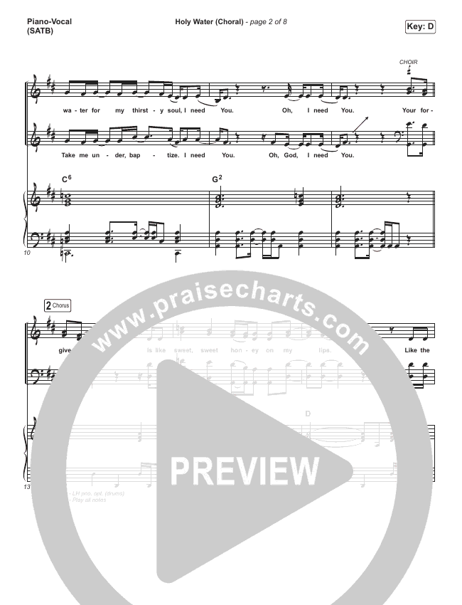 Holy Water (Choral) Piano/Vocal (SATB) (PraiseCharts Choral / We The Kingdom)