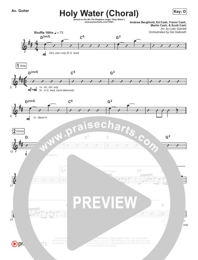 Holy Water (Choral) Rhythm Chart (PraiseCharts Choral / We The Kingdom)