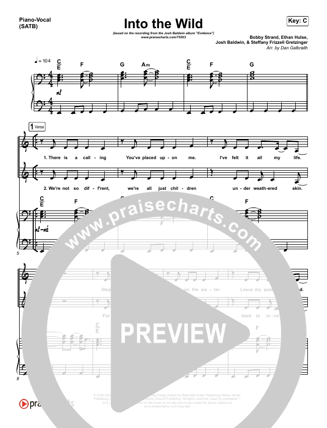 Into The Wild Piano/Vocal (SATB) (Josh Baldwin)
