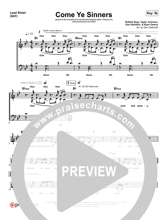 Come Ye Sinners Lead Sheet (SAT) (Shane & Shane / The Worship Initiative)