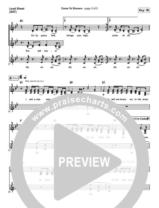 Come Ye Sinners Piano/Vocal Pack (Shane & Shane / The Worship Initiative)