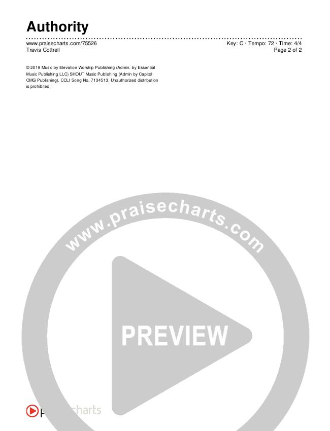 Authority Chords & Lyrics (Travis Cottrell)