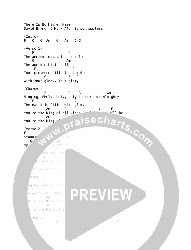 There Is No Higher Name (Live) Chord Chart (REVERE / Corey Voss / Sarah Kroger / Lee University Singers)