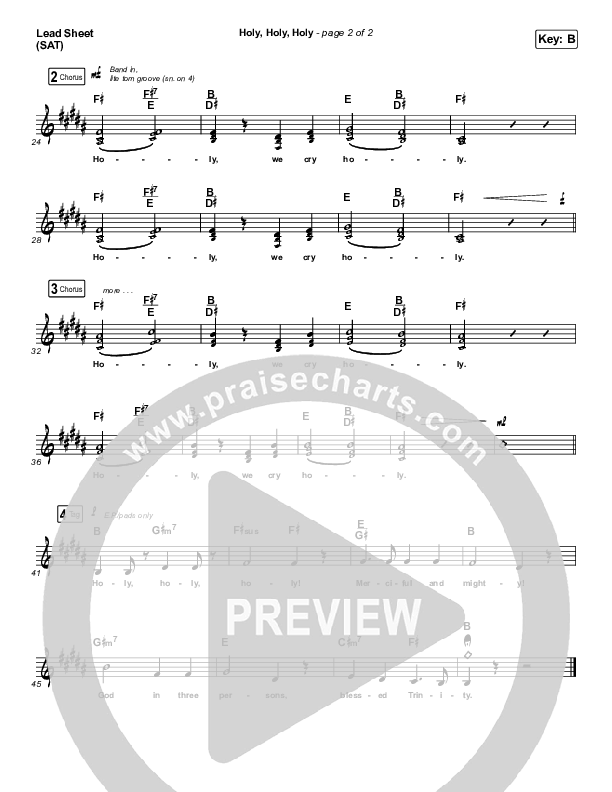 Holy Holy Holy (Live) Lead Sheet (SAT) (Hillsong UNITED)