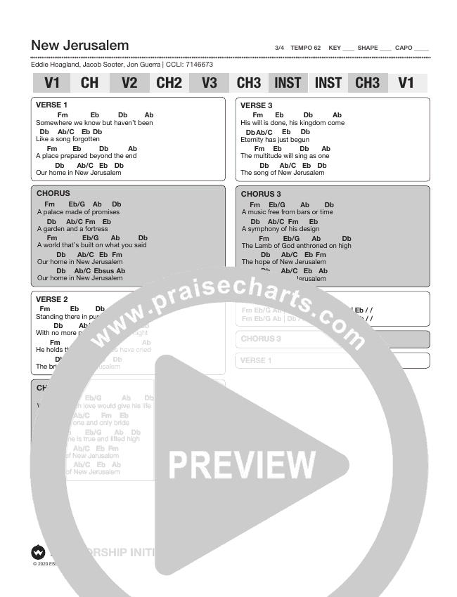 New Jerusalem Chord Chart (Shane & Shane/The Worship Initiative)