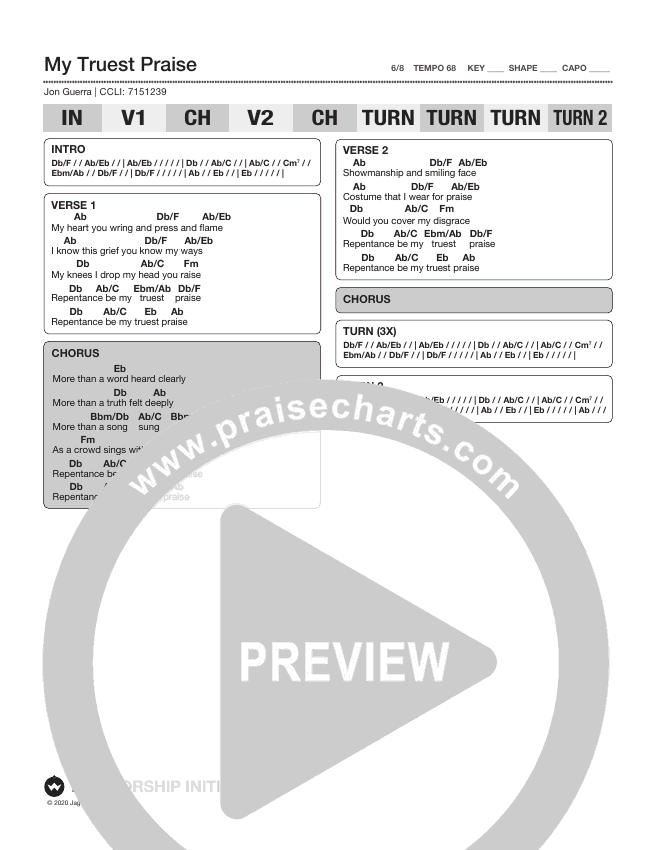 My Truest Praise Chord Chart (Shane & Shane/The Worship Initiative)