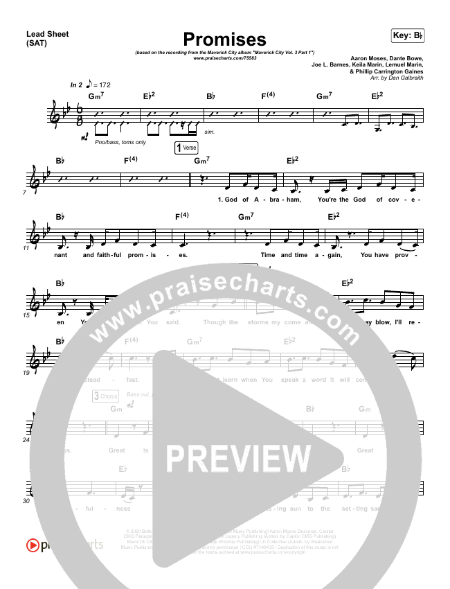Promises Piano/Vocal Pack (Maverick City Music)
