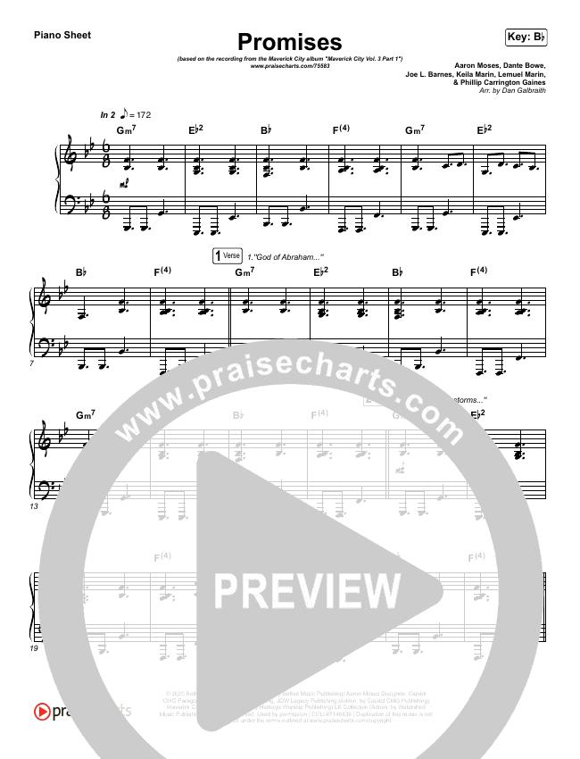 Promises Piano Sheet (Maverick City Music)