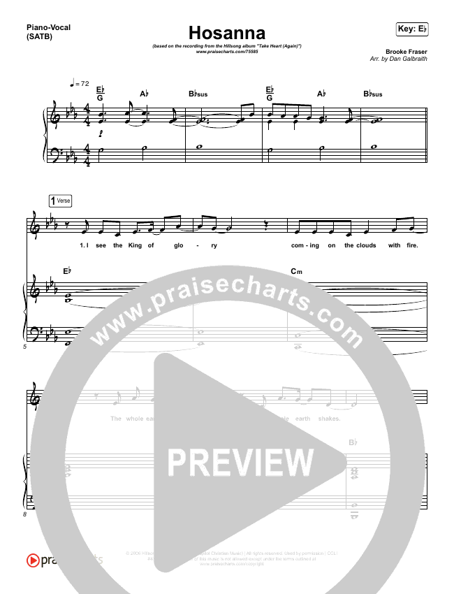 Hosanna Piano/Vocal (SATB) (Hillsong Worship / Brooke Ligertwood)