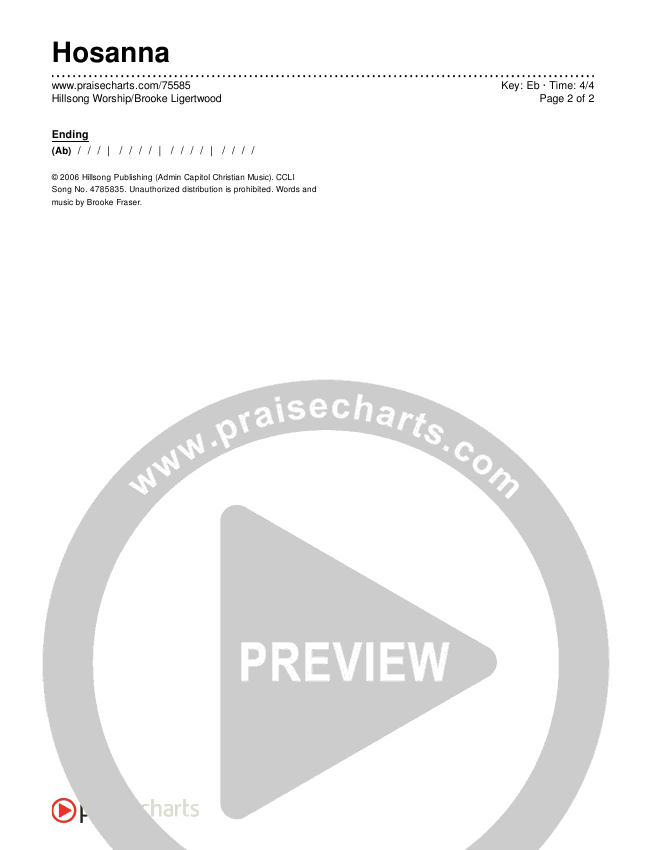 Hosanna Chords & Lyrics (Hillsong Worship / Brooke Ligertwood)