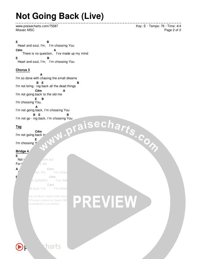Not Going Back (Live) Chords & Lyrics (Mosaic MSC)