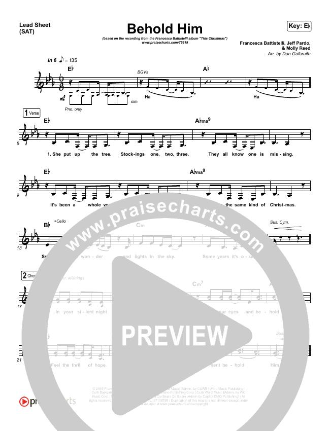 Behold Him Lead Sheet (SAT) (Francesca Battistelli)