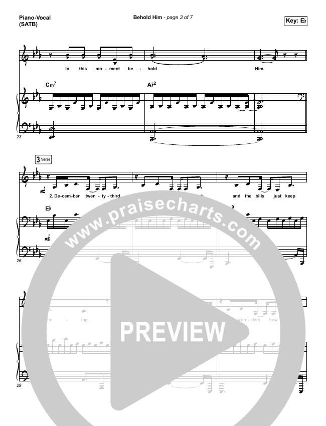 Behold Him Piano/Vocal (SATB) (Francesca Battistelli)