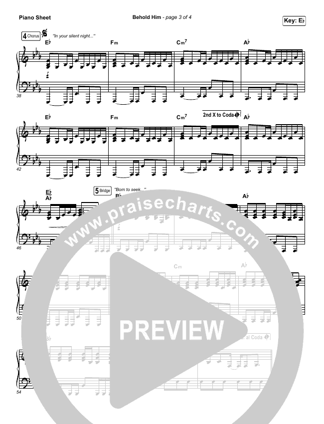 Behold Him Piano Sheet (Francesca Battistelli)